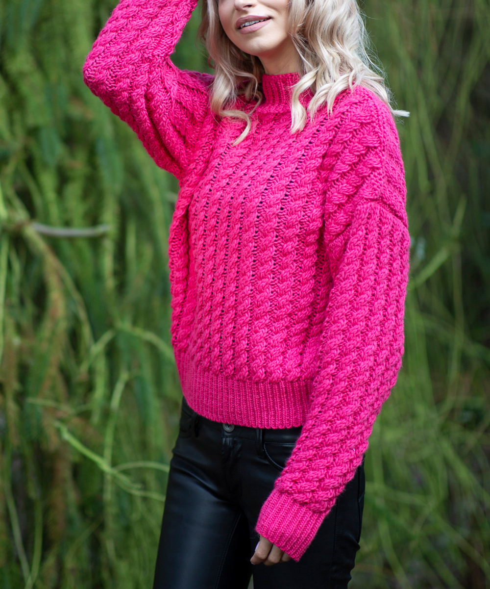 Fobya Hot Pink Cable Knit Sweater Women Zulily