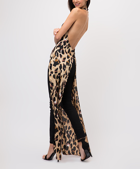 00d2727aa577 ... Womens BROWN MULTI Brown & Multicolor Leopard Print Maxi Hi-Low Halter  Top - Alternate ...