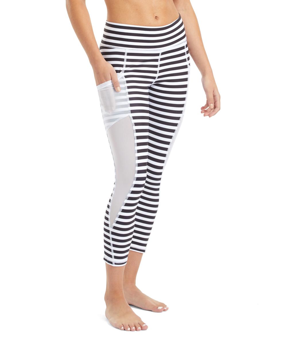 b91220e7fe492 Attivo Apparel Black & White Stripe Pocket Mae Mesh Capri Pants ...