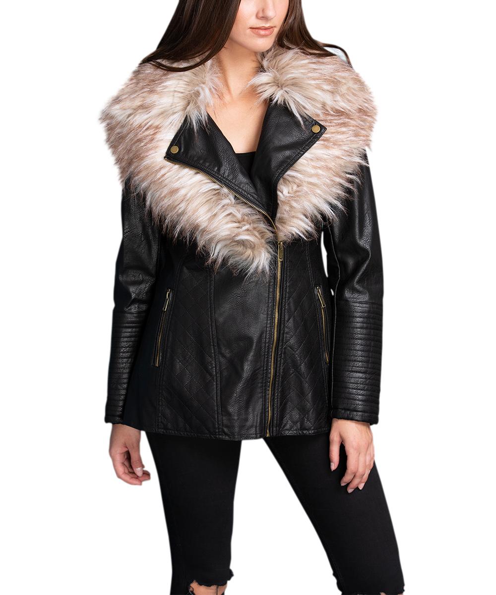 4114098b3 Coalition LA Black Faux-Fur Collar Quilted Coat - Women