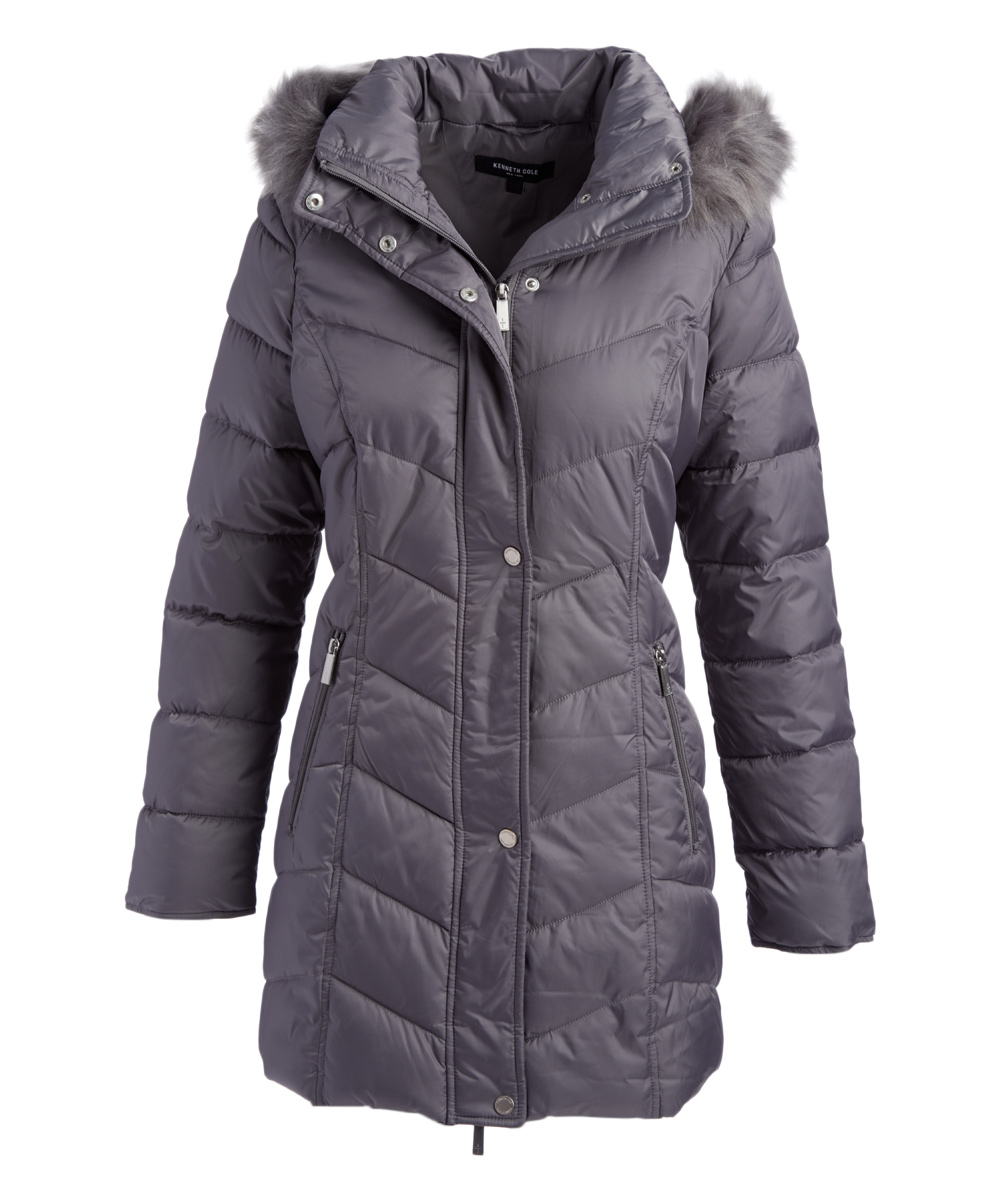 d60537cffb5 Kenneth Cole Nickel Long Hooded Faux Fur-Trimmed Puffer Jacket - Plus