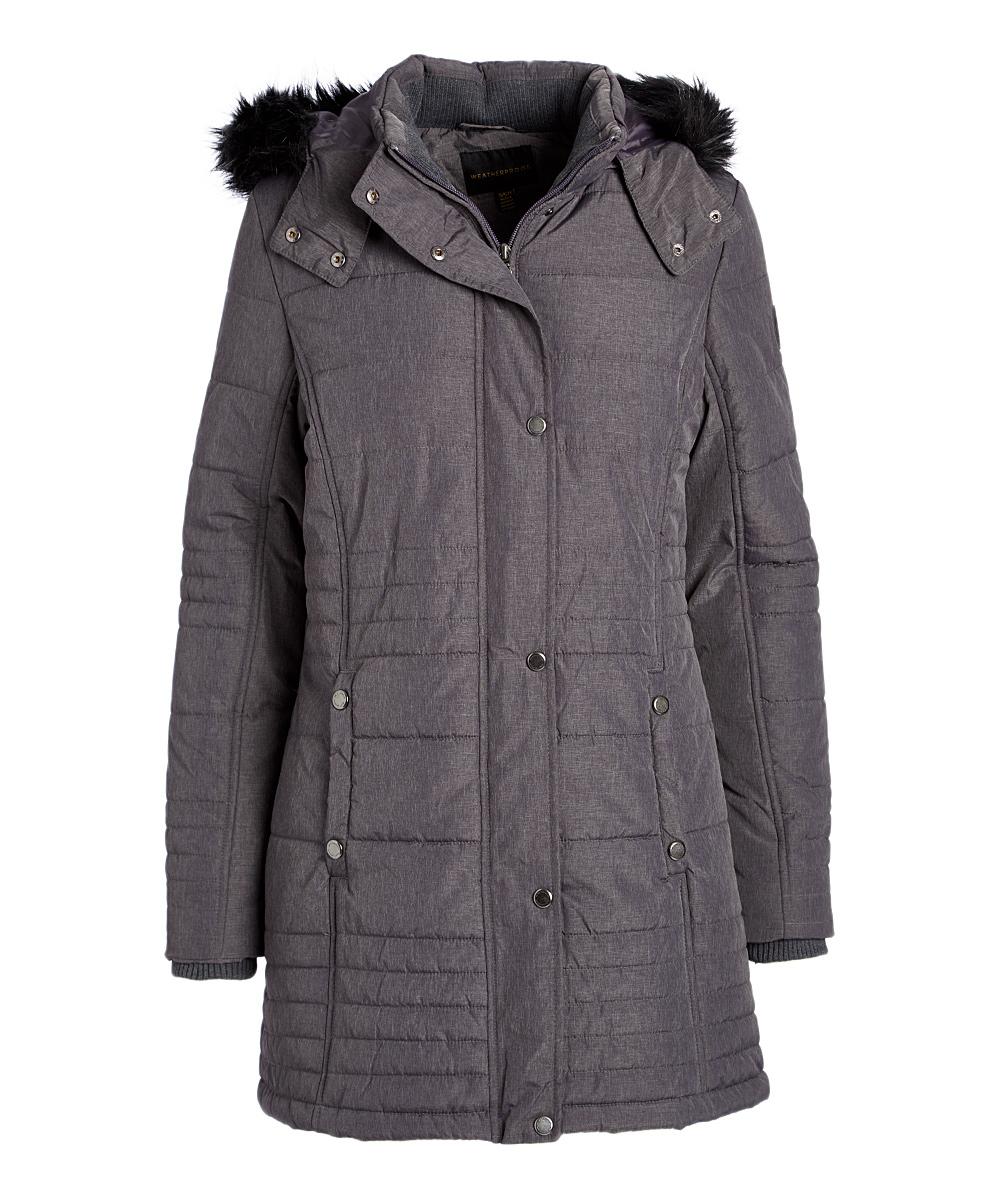 32462a1e8 Weatherproof Melange Gray Hooded Puffer Coat - Women