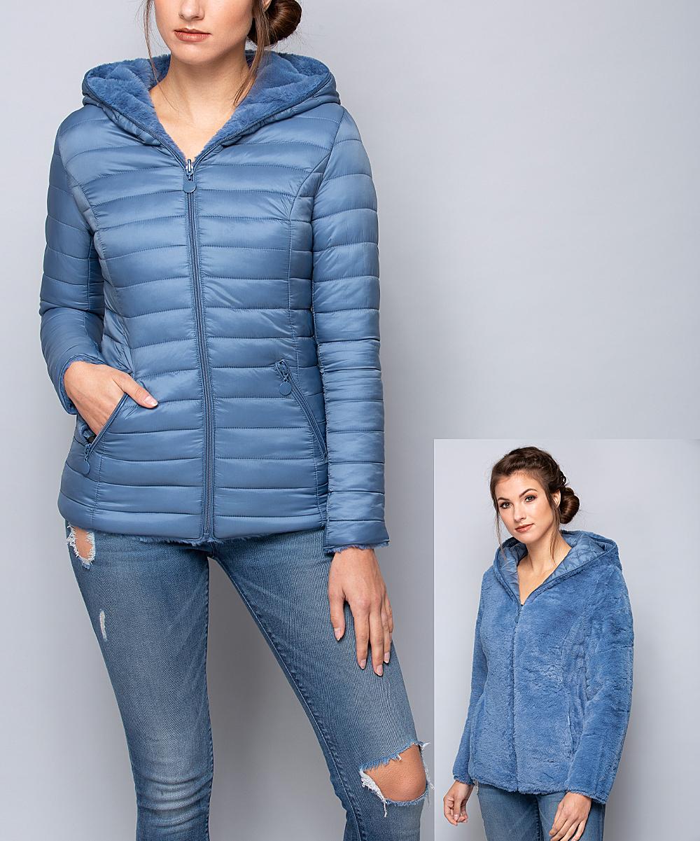 0397c965e Coalition LA Blue Horizontal Hooded Puffer Jacket - Women