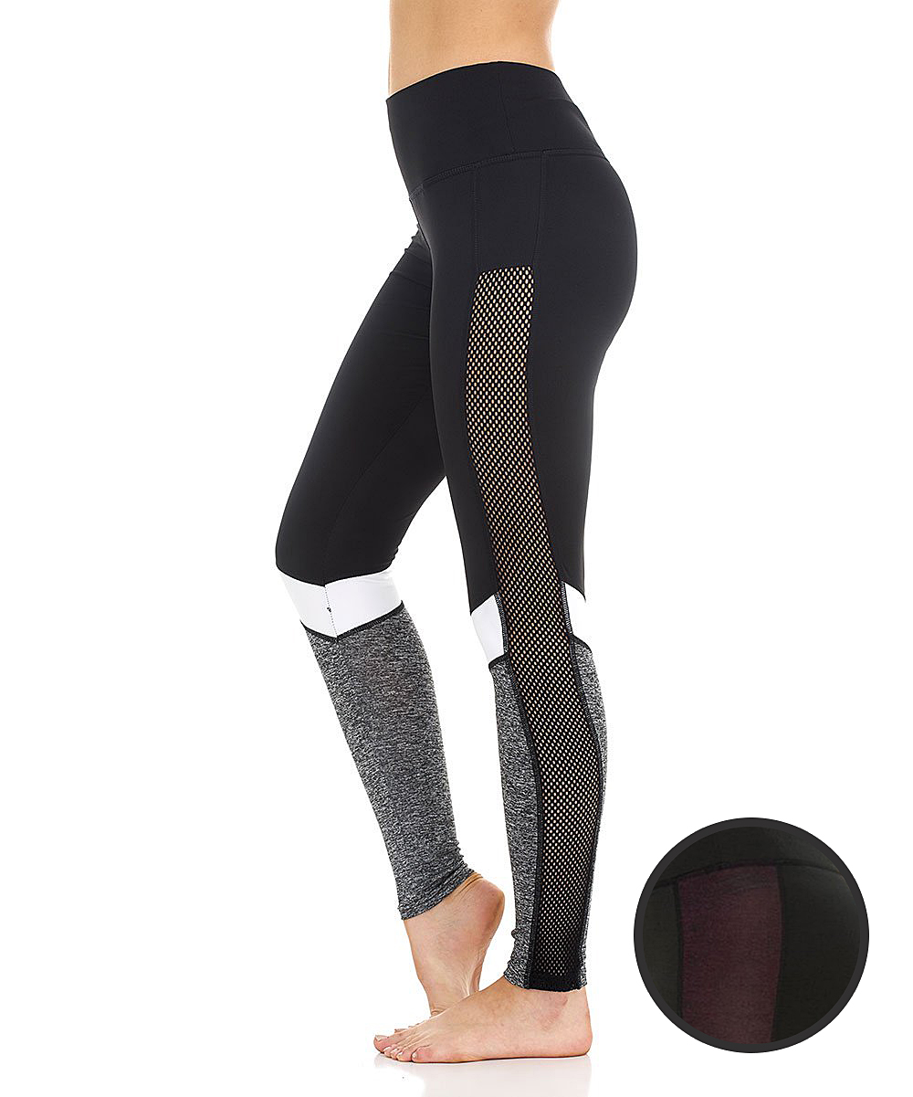 745b8730ea4520 S2 Sportswear Gray & Black Mesh Leggings & Burgundy Mesh Leggings ...