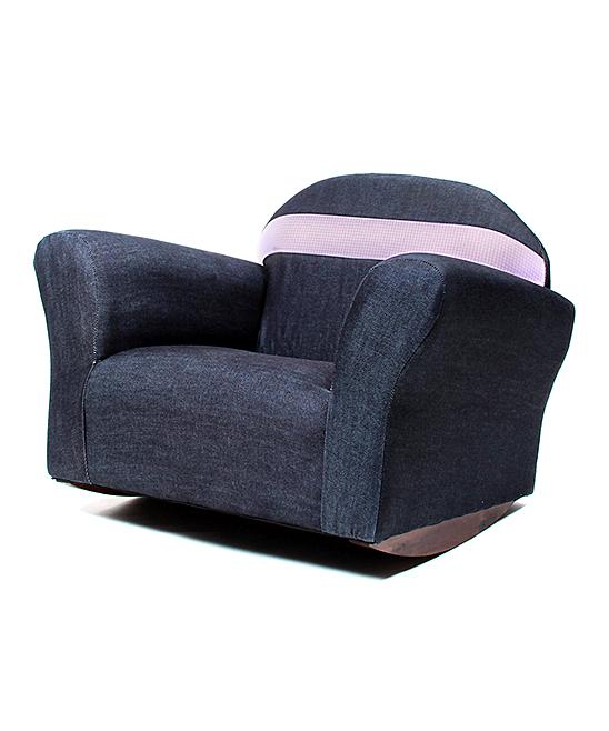 Denim & Pink Bubble Rocking Denim Kids' Chair