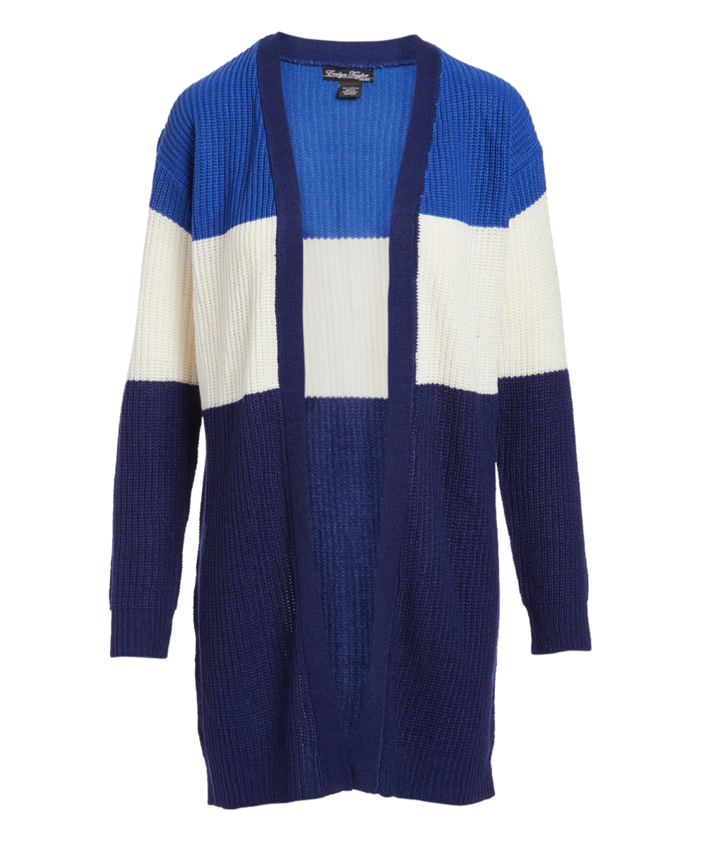 9963955d573 Evelyn Taylor Blue & Navy Color Block Open Cardigan - Women & Plus