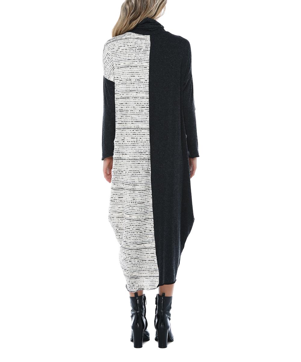 552ce2d23f3dd ... Womens DESIGN Black   White Color Block Turtleneck Sack Midi Dress -  Alternate Image 2
