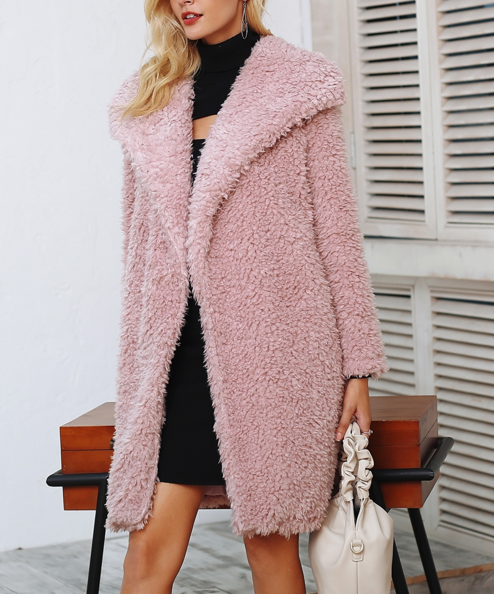 b6c80eea568a ... Womens Pink Pink Oversize-Lapel Faux Fur Coat - Alternate Image 2 ...