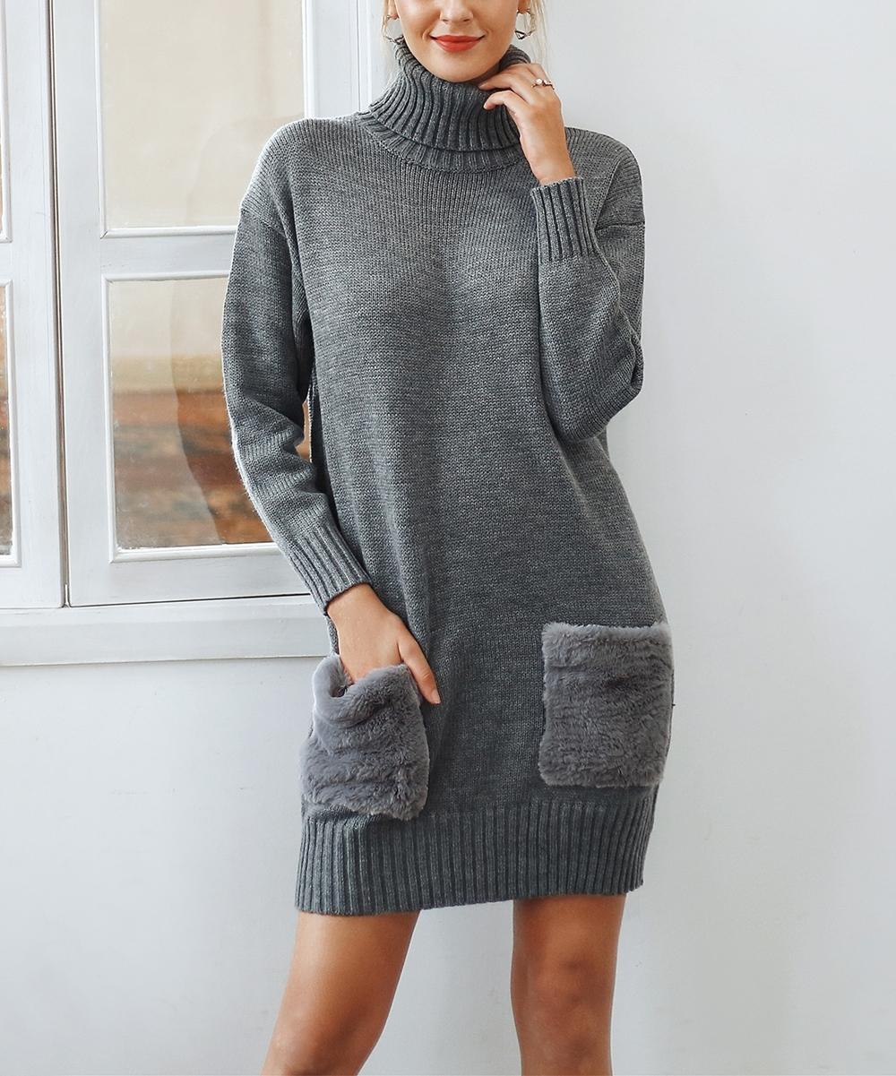 af2d01d1031a all gone. Gray Faux Fur-Pocket Sweater Dress - Women