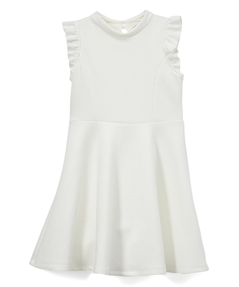 3db089c0e ava   yelly Off-White Mock Neck Angel-Sleeve Dress - Girls