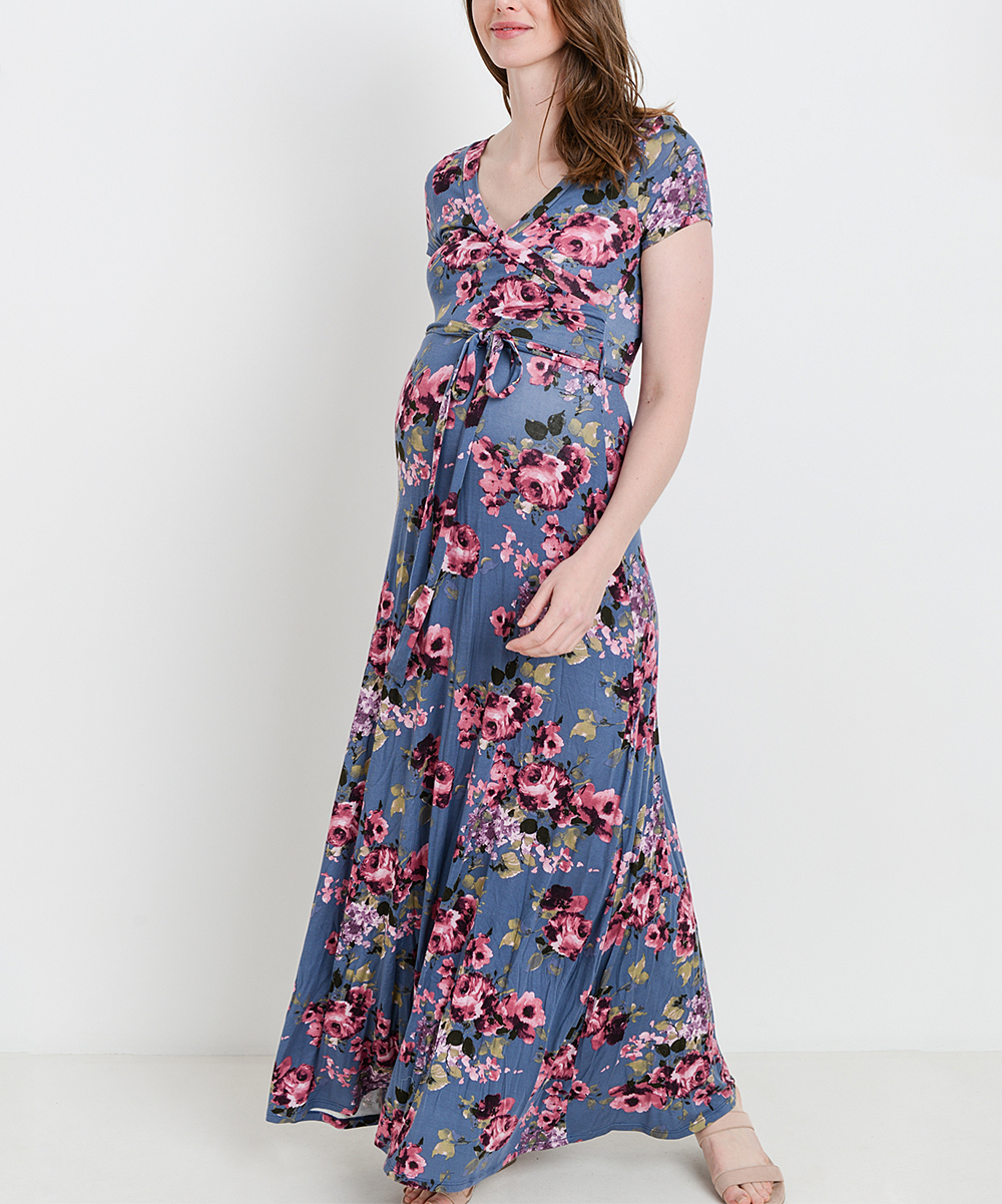 fbf49c9d884 Hello Miz Maternity Blue   Pink Floral Belted Maternity Surplice ...