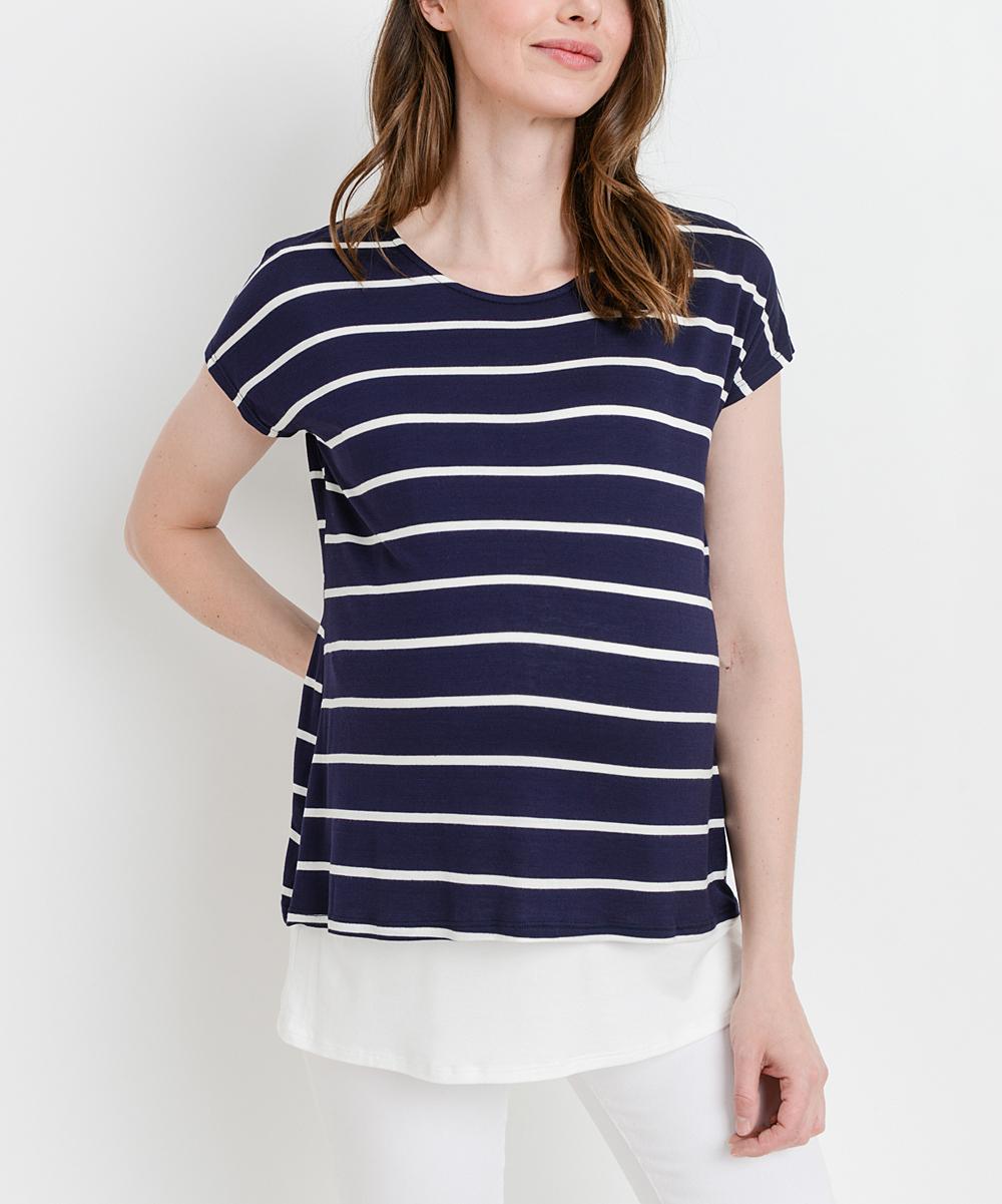 ccfa7c8374 Hello Miz Maternity Navy   White Stripe Maternity Nursing Short ...