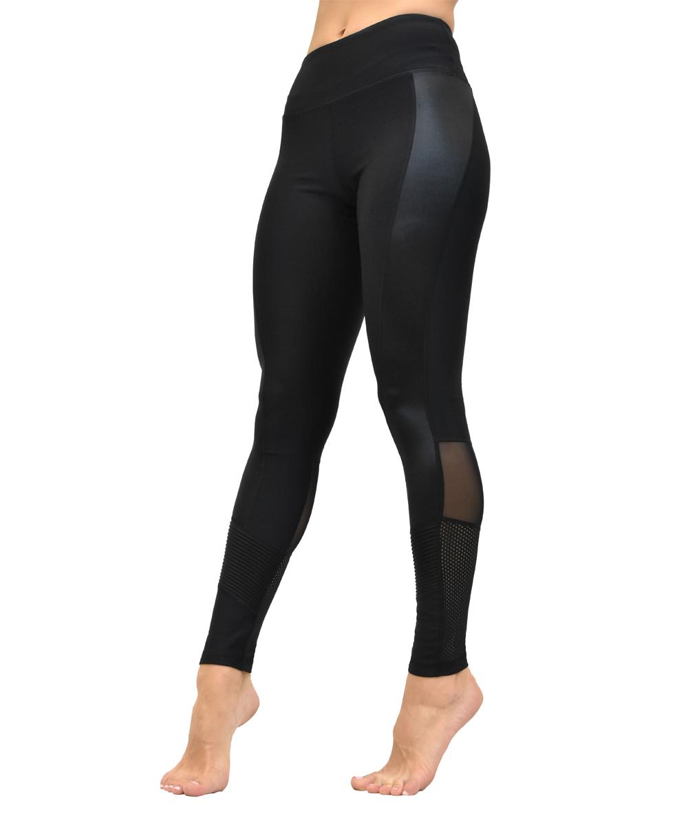 7729226695e94 Central Park Active Black Pleather & Mixed Mesh Leggings - Women ...