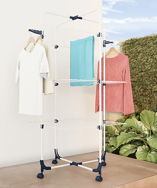 Three-Tier Clothes Drying Rack Laundry Station Three-Tier Clothes Drying Rack Laundry Station. Dry clothes with easy by using this innovatively designed clothing rack that provides 98 feet of space.  53'' W x 27'' H x 27'' DPowder-coated steel / plasticWeight: 12.2 lbs.Imported
