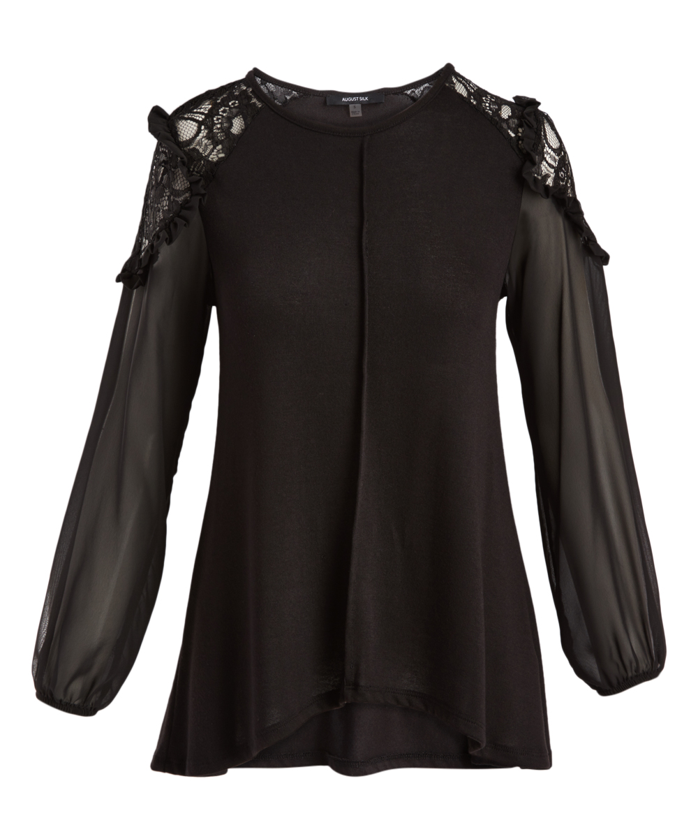f9706427a40d5b August Silk Black Lace-Accent Bishop-Sleeve Top - Women