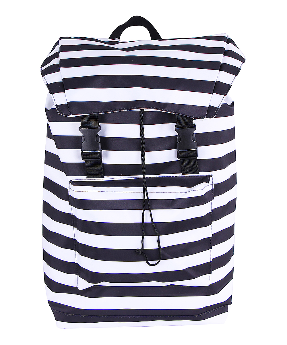 White & Black Stripe Backpack White & Black Stripe Backpack. This backpack boasts a classic stripe motif that lets you carry your items in style. 13'' W x 18'' H x 5'' DPolyesterSpot cleanImported