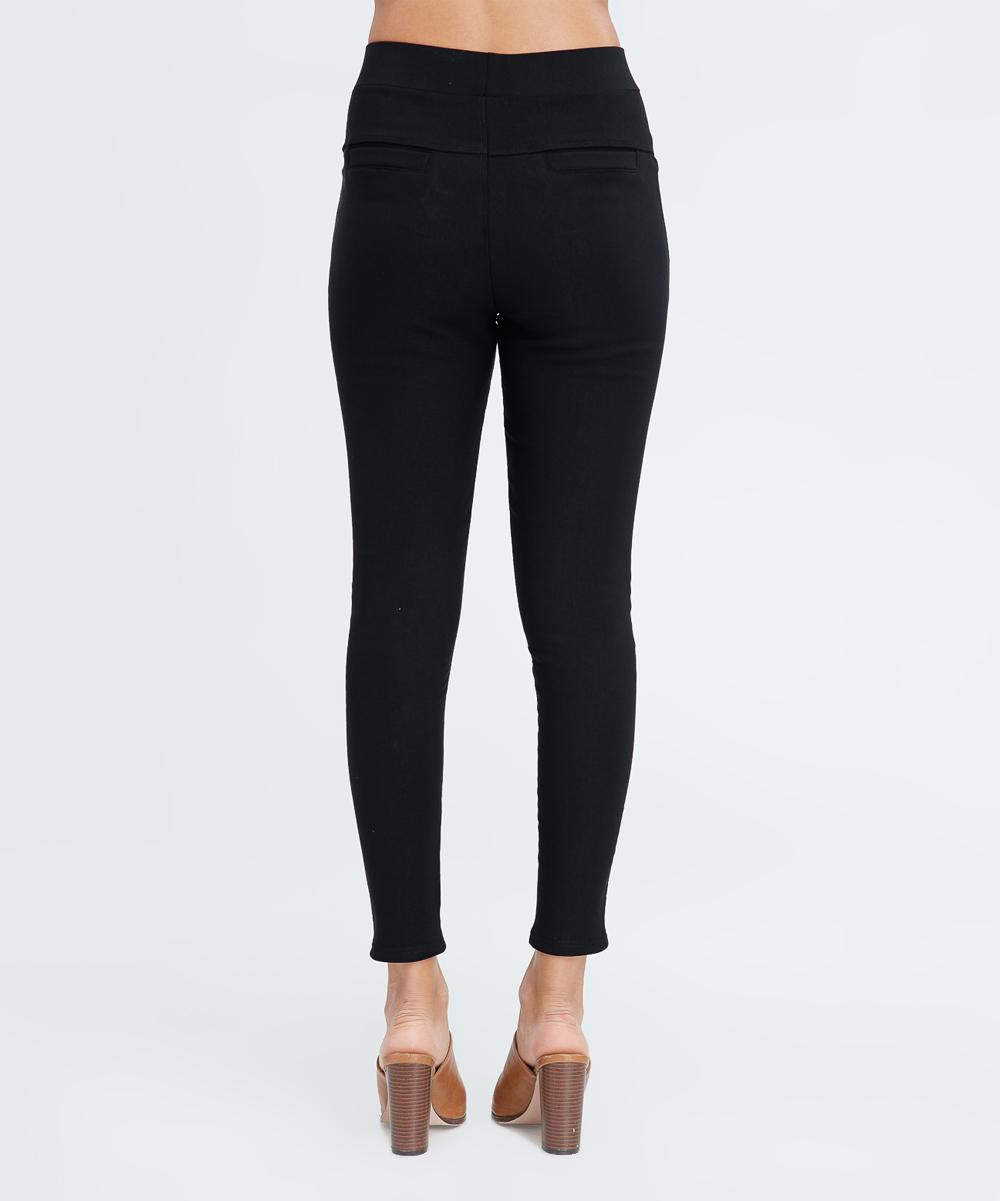 ba32797c9e2c5 LARA Fashion Black Fleece-Lined Leggings - Women | Zulily