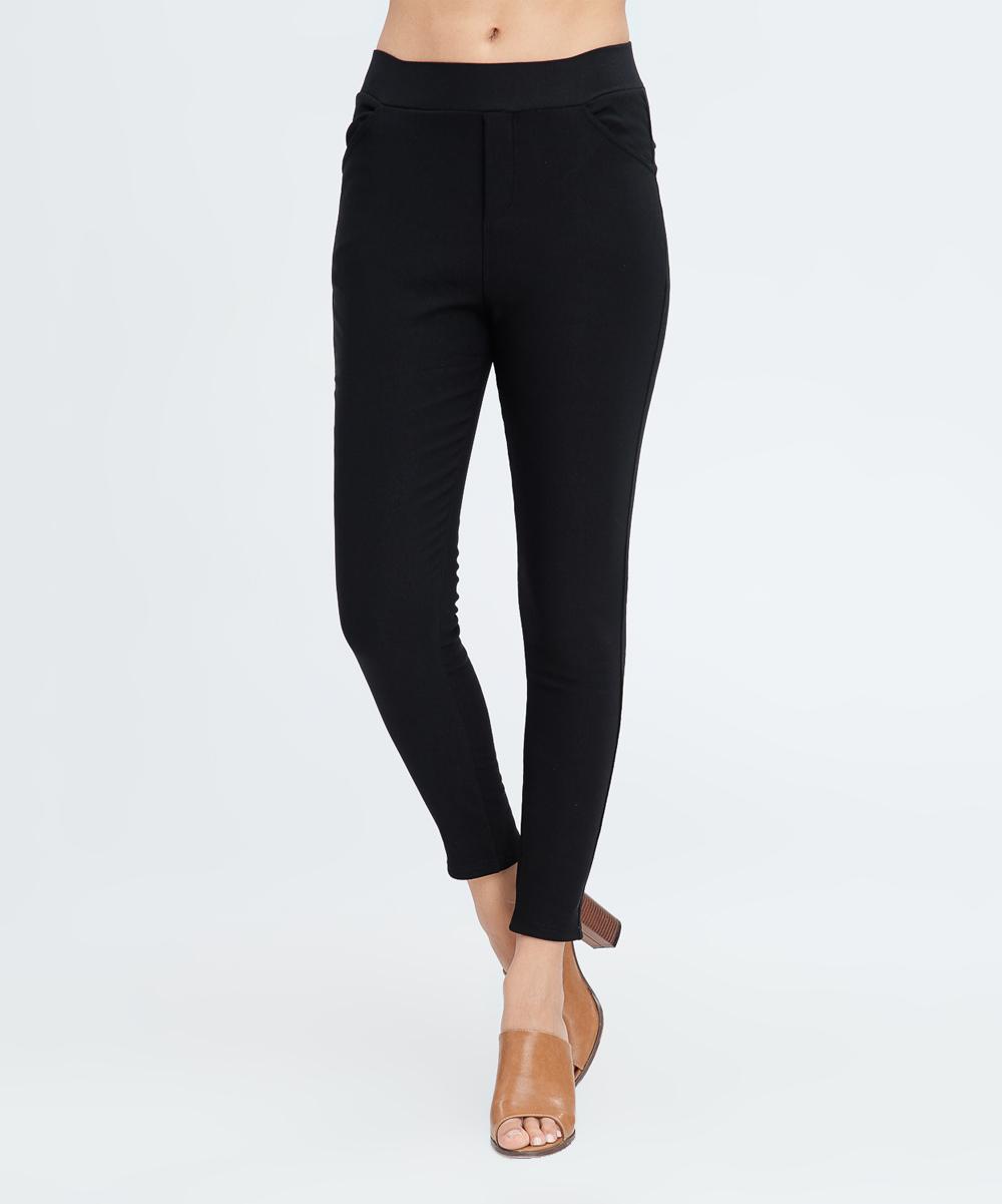 c2e2d874ee834 LARA Fashion Black Fleece-Lined Leggings - Women | Zulily