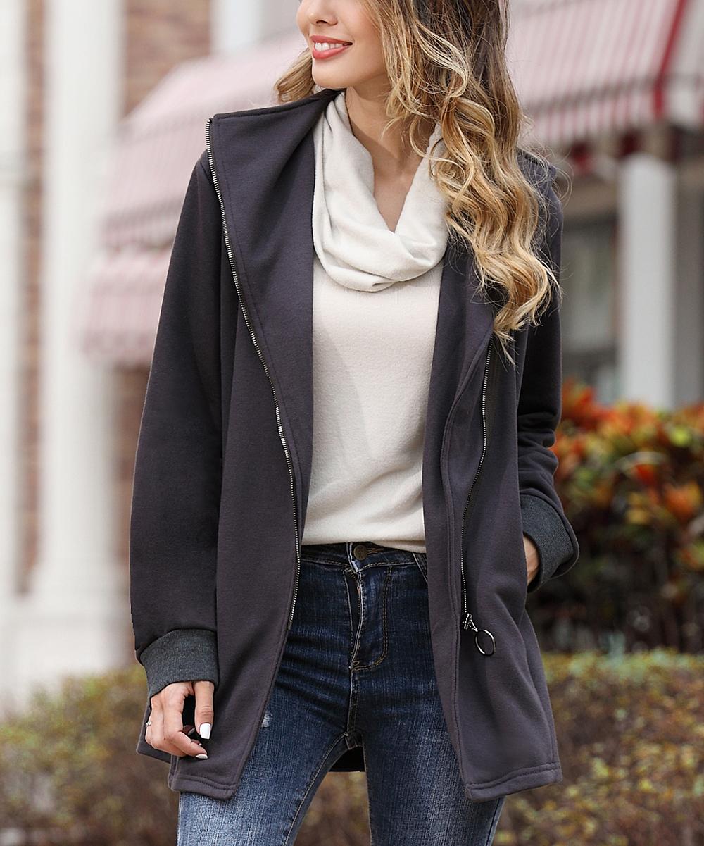 Z Avenue Charcoal French Terry Moto Jacket - Women  de5a24df02