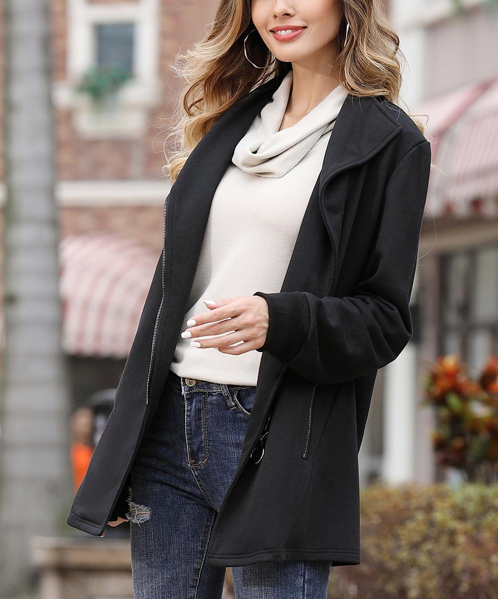 Z Avenue Black French Terry Moto Jacket - Women   Plus  6ba5b7fee5
