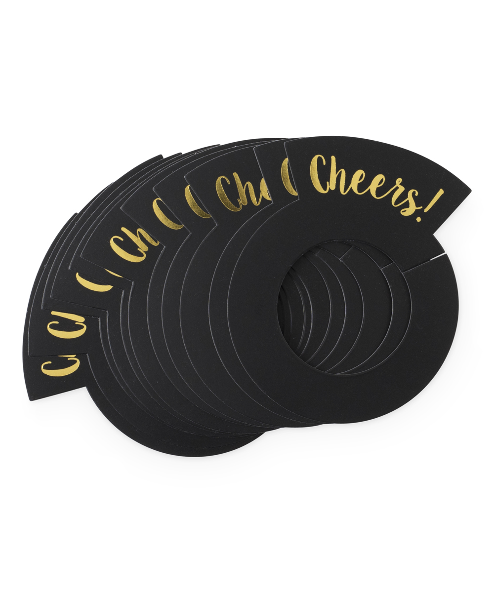 Black 'Cheers' Gift Tags Black 'Cheers' Gift Tags. Put an extra personal touch on your packages with this festive set of paper gift tags that your love ones will enjoy. Includes 12 tagsFull graphic text: Cheers!2.2'' W x 3'' H x 0.002'' DPaperImported