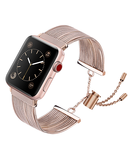 QRTZ Women's Watches rose - Rose Gold Stainless Steel Cuff Band for Apple Watch