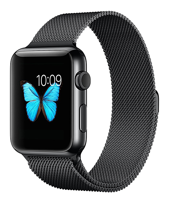 QRTZ Women's Watches black - Black Stainless Steel Band for Apple Watch