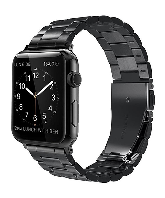 QRTZ Women's Watches black - Black Stainless Steel Link Band for Apple Watch
