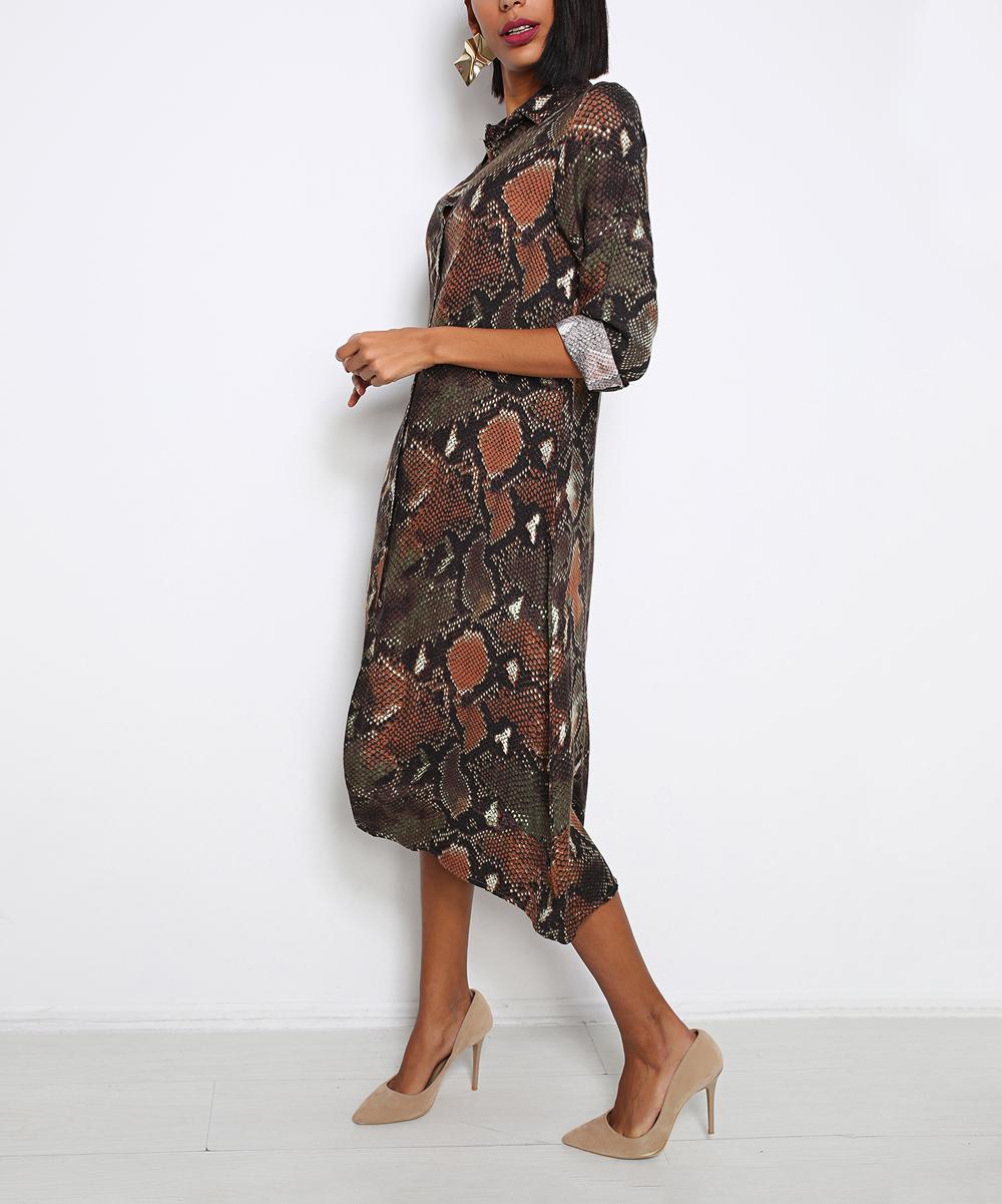 all gone. Olive   Copper Snake-Print Midi Shirt Dress 4c5fa599248