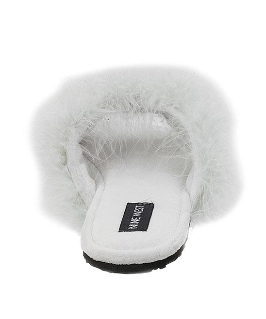 ea4951a6981a ... Womens SKYSCRAPER White Cloud Fuzzy Crisscross Slipper - Alternate  Image 4 ...
