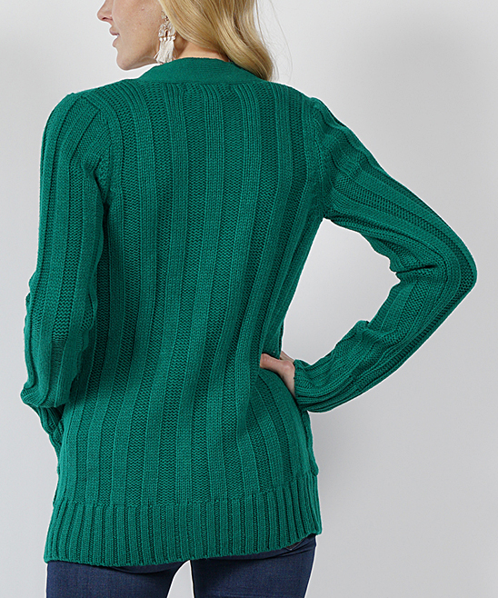 42pops Green Cable Knit Large Button Cardigan Women Zulily