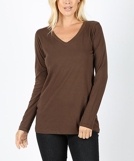 53643bb0 Brown V-Neck Long-Sleeve Shirt - Women