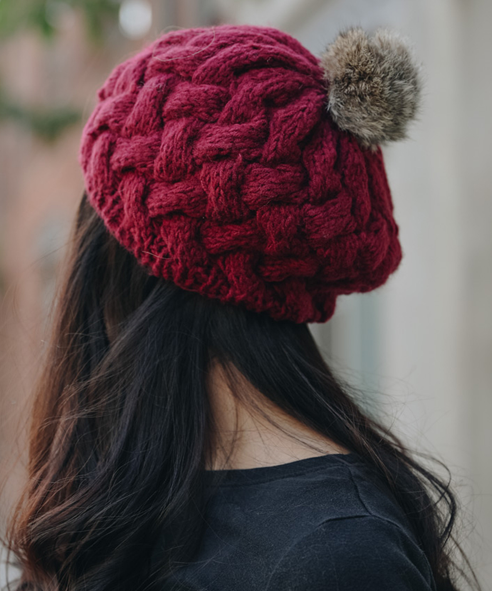 e7bdd5df8 Leto Collection Burgundy Cable-Knit Beret