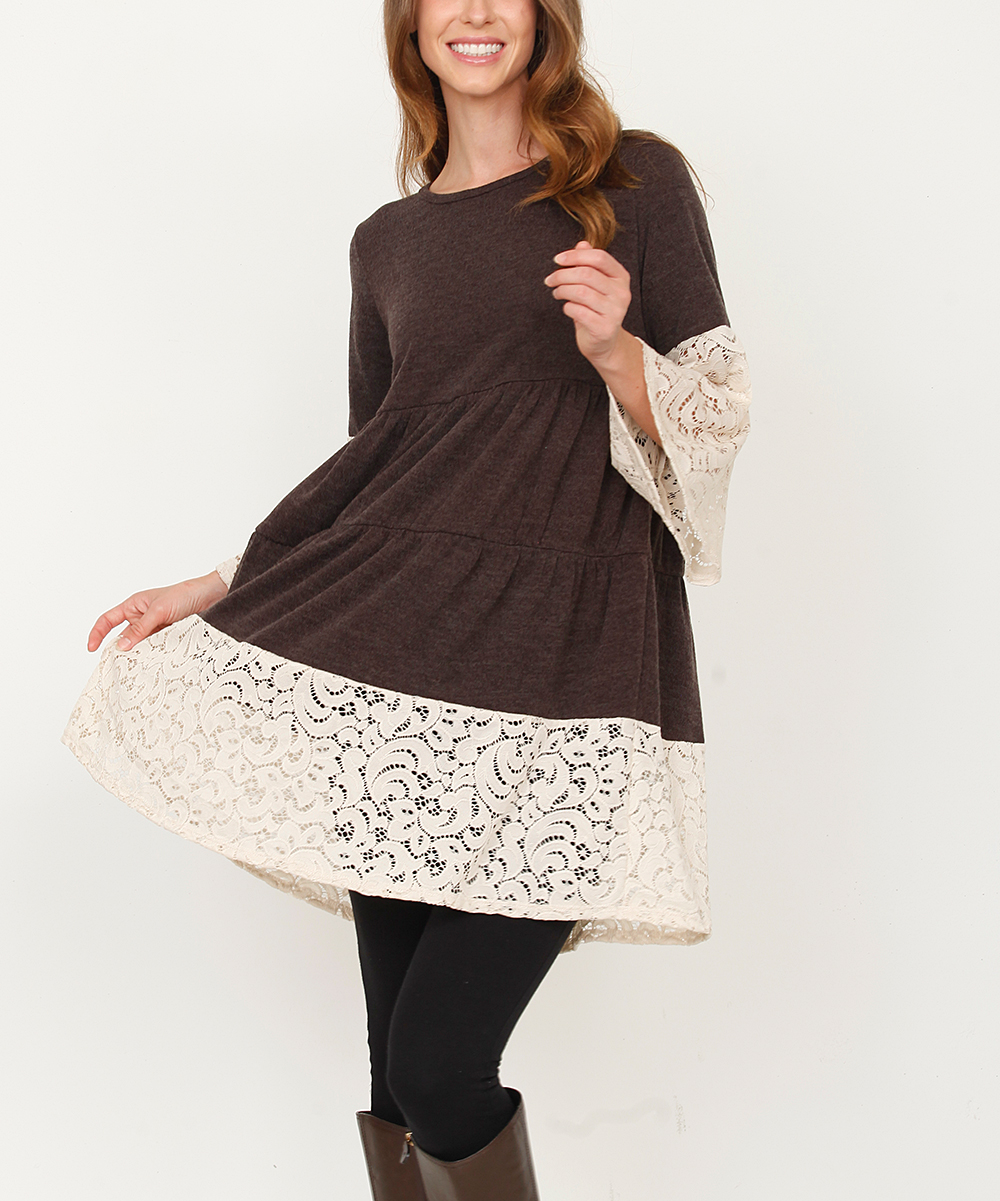 1d5afb5f9 egs by éloges Mocha   Cream Lace Layered Sweater Dress - Women