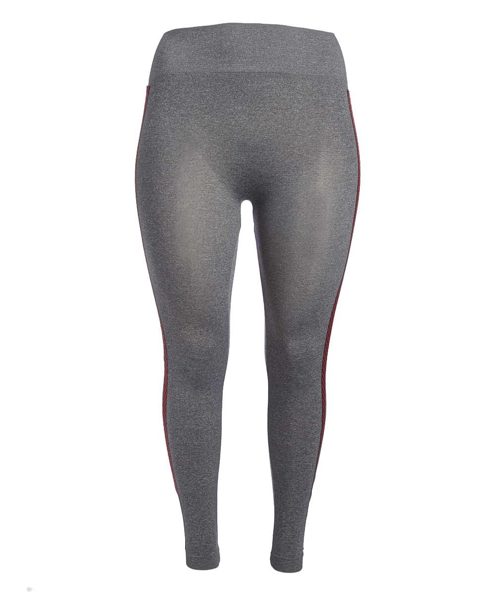 beb79c314cb76 Crush Gray Checkerboard Stripe Leggings - Plus | Zulily
