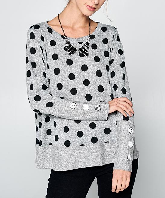 Love Kuza Gray Black Polka Dot Sweater Women Zulily