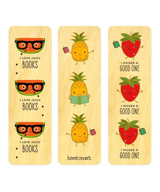Night Owl Paper Goods  Bookmarks  - 'I Love Juicy Books' Fruit Wood Bookmark - Set of Three
