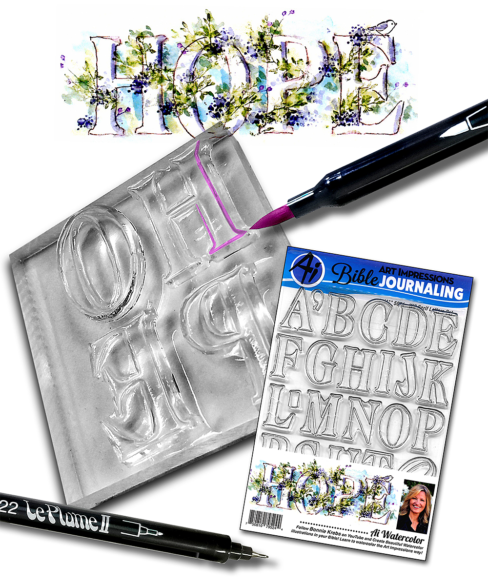 Art Impressions Serif Letters Bible Journaling Watercolor Clear Stamp Set