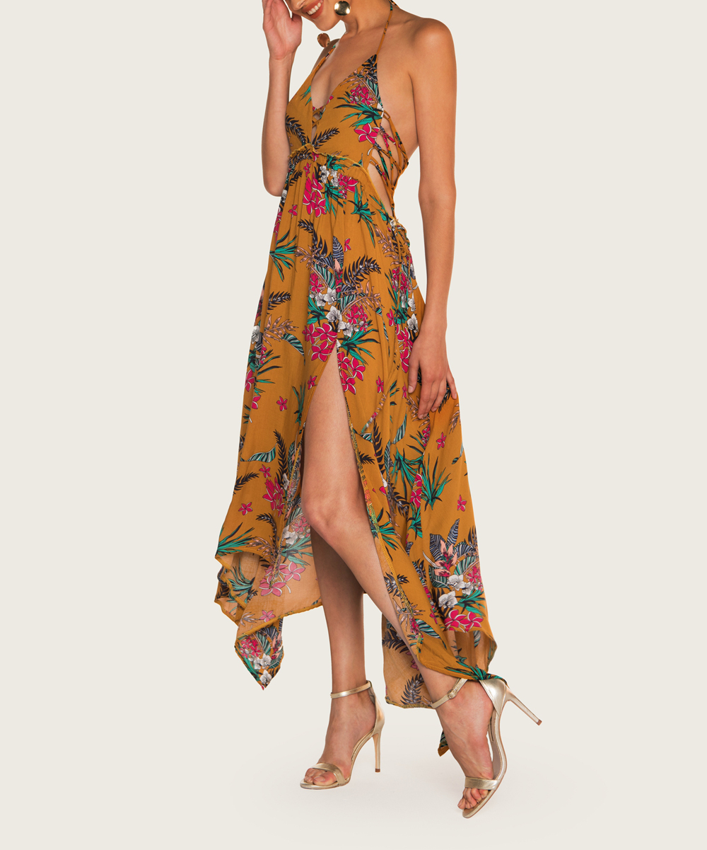 a2e17d2e0f3 Z I Orange Floral Halter Maxi Dress - Women
