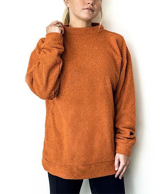 Woolly Threads Burnt Orange Crewneck Sweater Women Zulily