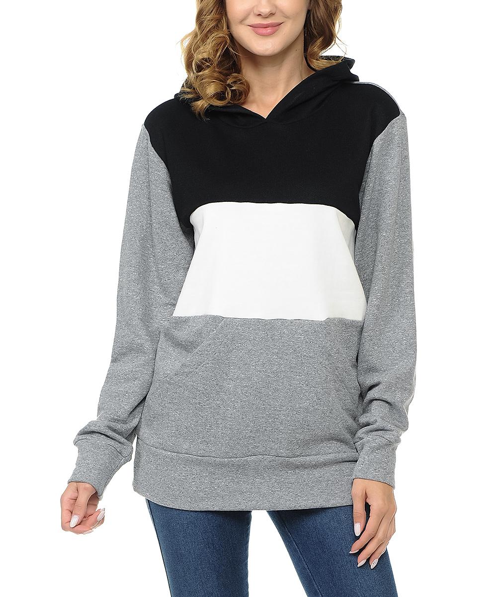 Gray & White Color Block Hoodie - Plus