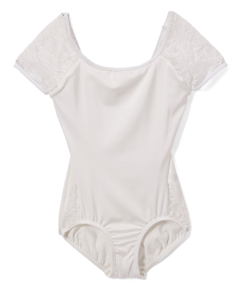 0d004e52e Body Wrappers White Lace-Accent Short-Sleeve Leotard - Girls, Women ...