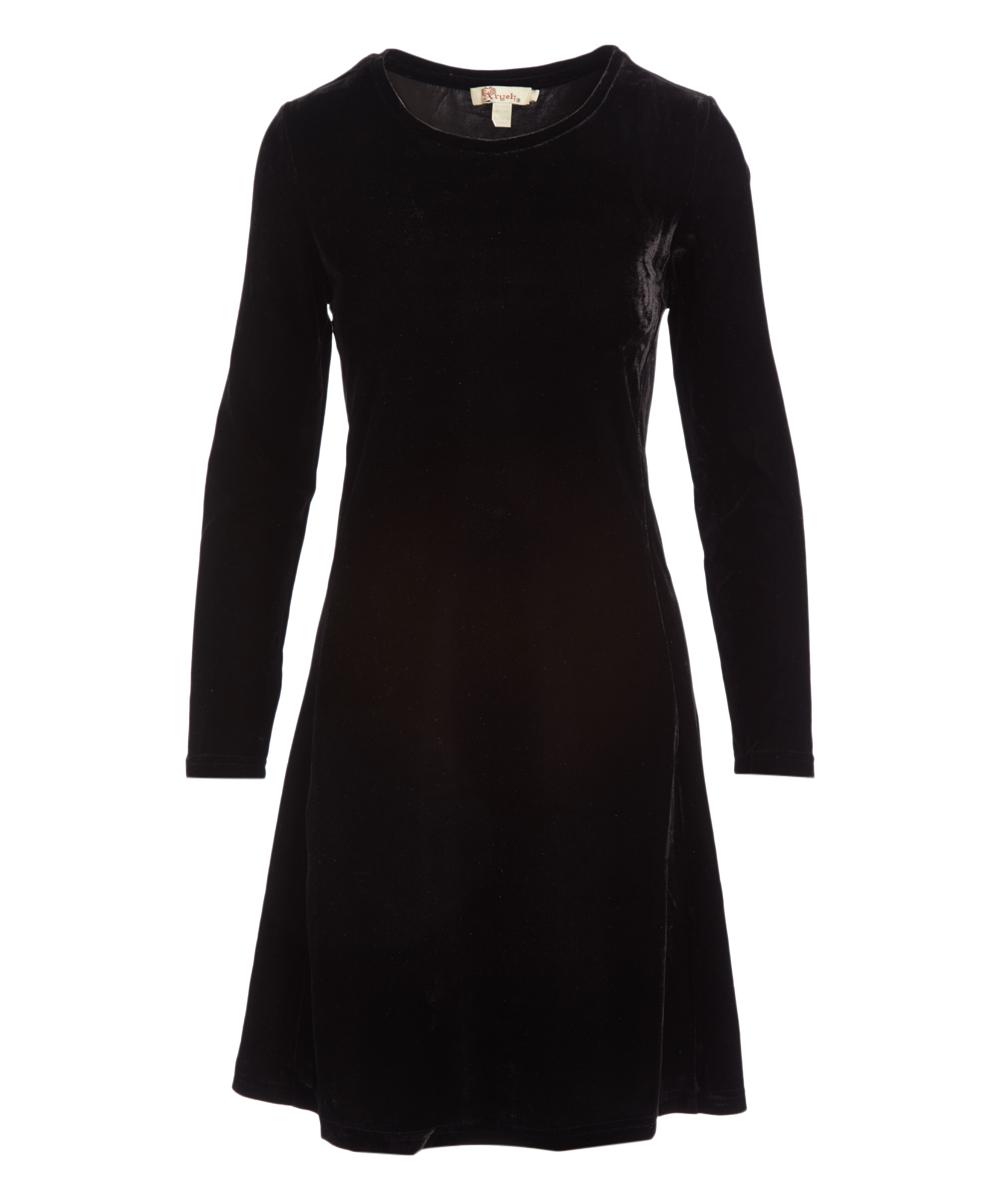 cd15c240d11a Black Velvet Long-Sleeve Fit   Flare Dress - Women