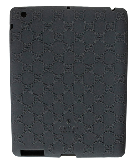 Gray Gucci Log Ipad Case Gray Gucci Log Ipad Case. Lend your tablet a little glamour when you encase it in this durable plastic case embellished with the signature Gucci logo. 9.4'' W x 7.32'' H x 0.31'' D100% silicone plasticMade in Italy