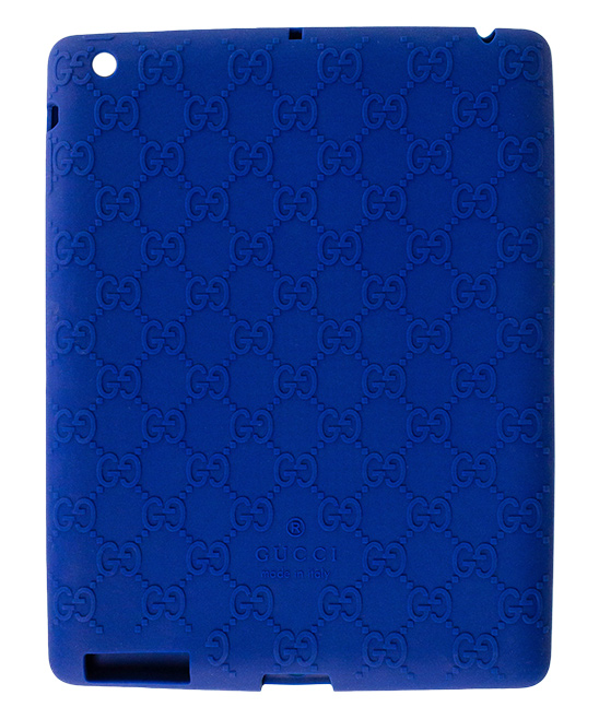 Blue Gucci Log Ipad Case Blue Gucci Log Ipad Case. Lend your tablet a little glamour when you encase it in this durable plastic case embellished with the signature Gucci logo. 9.4'' W x 7.32'' H x 0.31'' D100% silicone plasticMade in Italy