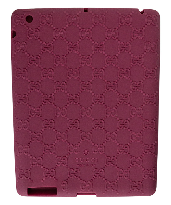 Pink Gucci Log Ipad Case Pink Gucci Log Ipad Case. Lend your tablet a little glamour when you encase it in this durable plastic case embellished with the signature Gucci logo. 9.4'' W x 7.32'' H x 0.31'' D100% silicone plasticMade in Italy