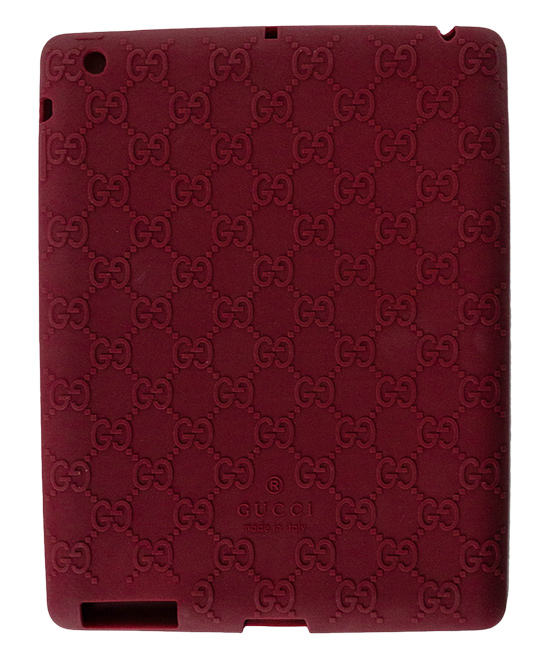 Red Gucci Log Ipad Case Red Gucci Log Ipad Case. Lend your tablet a little glamour when you encase it in this durable plastic case embellished with the signature Gucci logo. 9.4'' W x 7.32'' H x 0.31'' D100% silicone plasticMade in Italy