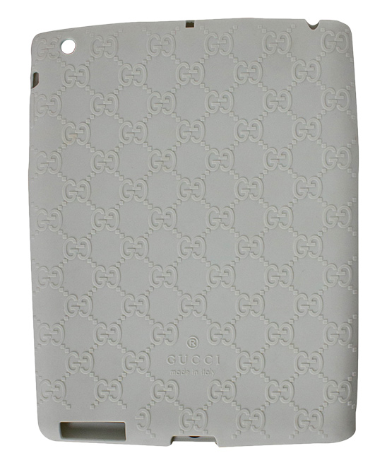 White Gucci Log Ipad Case White Gucci Log Ipad Case. Lend your tablet a little glamour when you encase it in this durable plastic case embellished with the signature Gucci logo. 9.4'' W x 7.32'' H x 0.31'' D100% silicone plasticMade in Italy