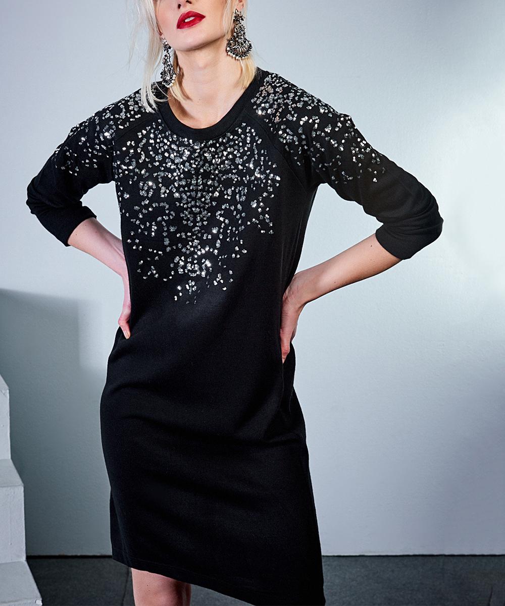 Black Embellished T-Shirt Dress - Women