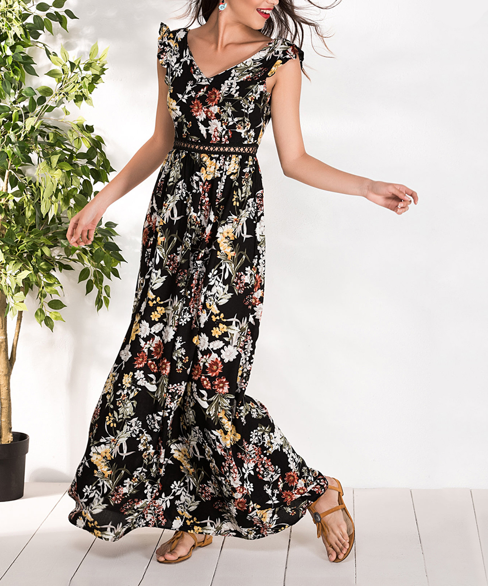 676c9f20cab Black Floral Angel-Sleeve Maxi Dress - Women - Milan Kiss